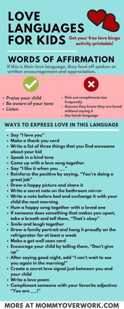Follow Or Choose Parts From The List Below To Do With Or For Your Child As You Learn And Explore Their Love Language
